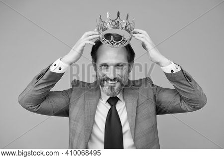 Award Winner Handsome Man Actor Artist Scientist With Crown, Fame And Status Concept.