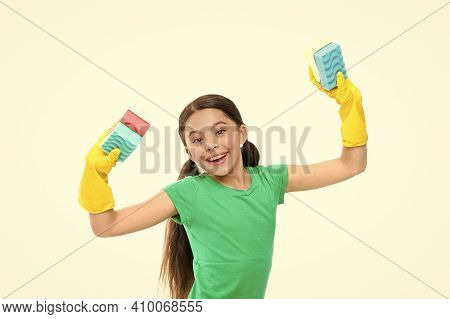 I Did It. Kid Cleaning Around. Protect Sensitive Skin. Kid Cleaning At Home. Small Girl Well Done. D
