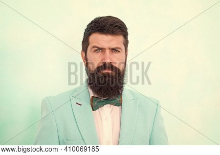 Bend His Brows. Brutal Tuxedo Man. Formal And Business Fashion. Groomed Bearded Man On Special Event