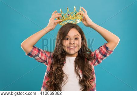 Dreams Come True. Kid Wear Golden Crown Symbol Of Princess. Girl Cute Baby Wear Crown While Stand Bl