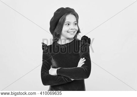 Retro Kid Fashion Style. Positive Girl In Vintage Beret Hat. Trendy Parisian Child In Red Dress. Smi