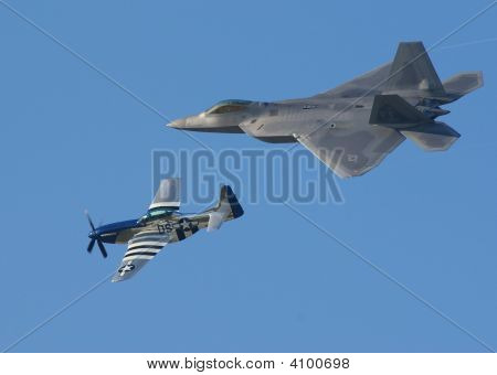 F-22 Raptor And P-51 Mustang