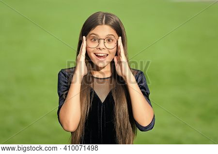 Look Sharp And Stay Focused With Best Glasses. Happy Child Wear Glasses Green Grass. Fashion Eyewear
