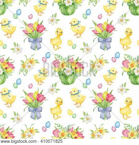 Watercolor Easter Pattern With Yellow Duckling And Chick, Colorful Eggs, Bouquets With Tulips And Da