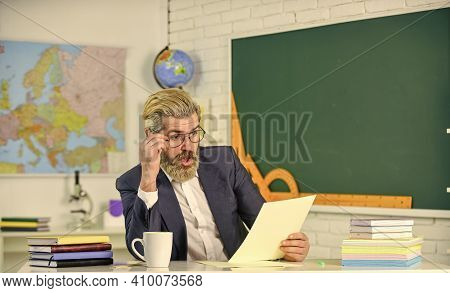 College High School. Teacher Explaining Theory. Prepare For Test. Teacher Bearded Man Chalkboard Bac