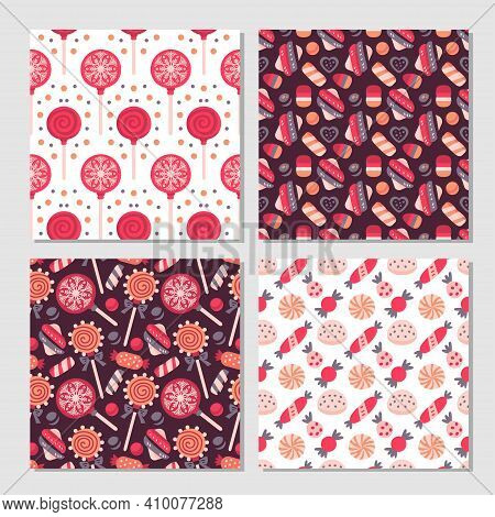 Scrapbook Candy Pattern Set. Collection Of 4 Prints With Lollipop, Candy. Vector Cute Seamless Backg