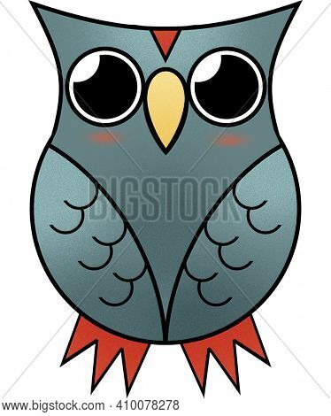 Owl Illustration Isolated on White with Clipping Path