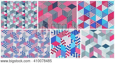 Dotted Geometric 3D Seamless Patterns With Cubes, Dotty Boxes Blocks Vector Backgrounds Set, Archite