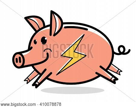 Pig Superhero Humorous Vector Cartoon Isolated On White Background.
