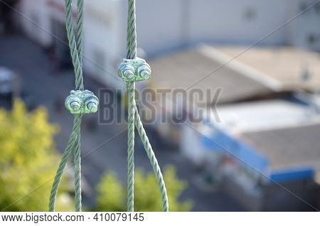 Rope Lockers In Of Suspended Wire Rope Platform For Facade Works On High Multistorey Buildings. Rope