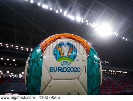 Bucharest, Romania - November 27, 2020: Uefa Euro 2020 Ball On The New Steaua Stadium Open For A Pre