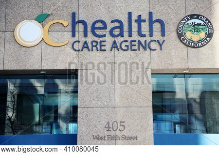 Santa Ana, California - USA - February 25, 2021: Orange County Health Care Agency Headquarters. The Health Care Agency is a regional provider, charged with protecting and promoting, community health.