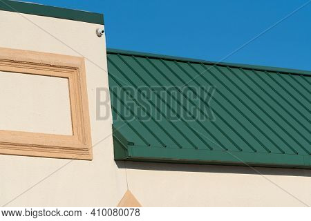 Roof Covered With Green Iron Plates Material Metal