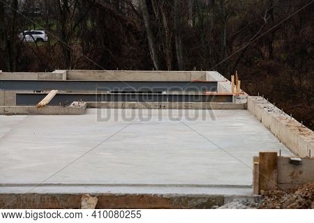 New House Foundation In Poured Concrete Floor Steel