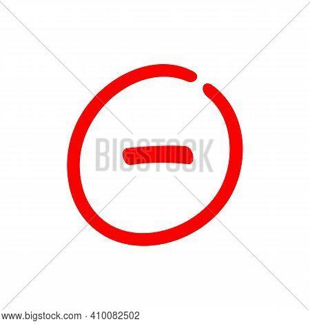 Minus Sign Inside A Circle, Negative Symbol Illustration - Vector