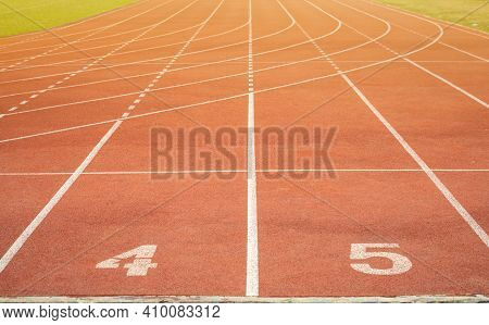 The Number At Start Point Of Running Track Or Athlete Track In Stadium. Running Track Is A Rubberize
