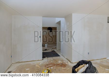 Home For Repairs In An Apartment Is Under Remodeling Renovation Walls From Gypsum Plasterboard Or Dr