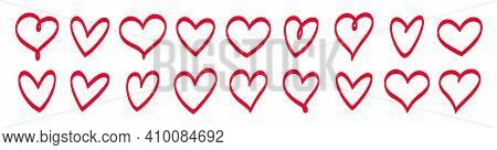 Set Of Vector Hand Drawn Hearts. Trendy Design Elements. Handdrawn Hearts For Use In Logo Or As Grap
