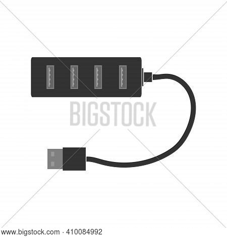 Simple Rectangular Usb Hub With Usb Ports And Cable. A Splitter For A Computer Or Laptop. Flat Vecto