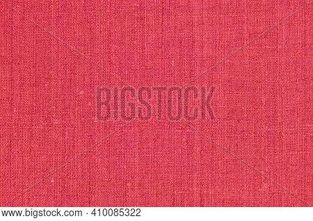 Natural Light Vibrant Wine Red Rustic Flax Fiber Linen Fabric Swatch Texture Vertical Pattern, Horiz