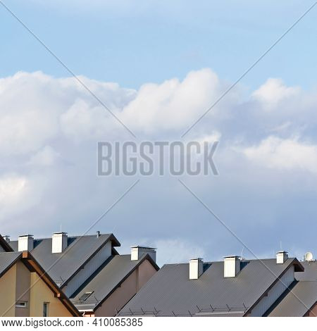 Row House Roofs, Large Detailed Panoramic Roofscape, Condo Rowhouse Rooftop Detail Panorama, Multipl