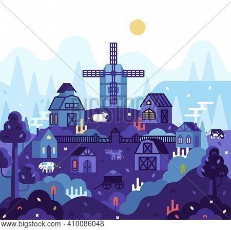 Vector Cartoon Square Illustration In Flat Cartoon Stile - Village Landscape, Farmhouses, Mill, Barn