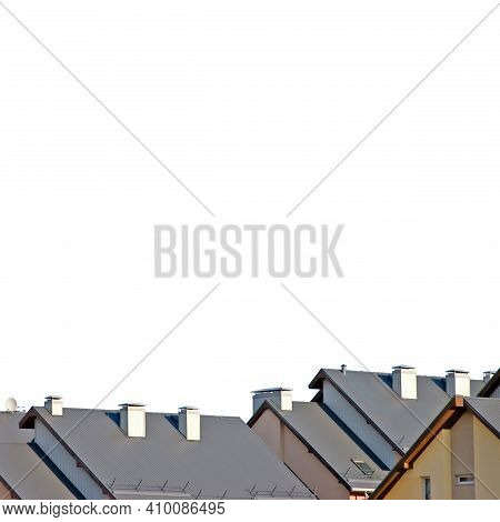 Row House Roofs, Large Detailed Isolated Roofscape, Condo Rowhouse Rooftop Detail, Multiple Condos,