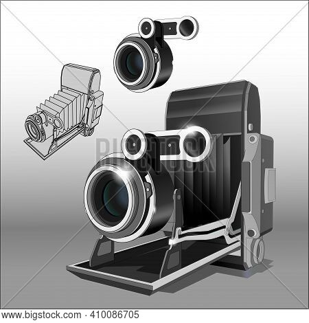 Vector Neat Accurate Illustration Of Vintage Photo Camera And Lens Separately. Two Angles. Realistic