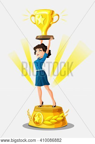 Beautiful Smiling Businesswoman Is Standing On A Winners Pedestal With A Golden Cup And Rays Of Glor