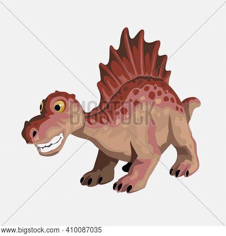 Little Spinosaurus. Cartoon Dinosaur Picture. Cute Dinosaurs Character. Flat Vector Illustration Iso