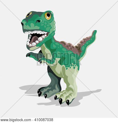 Little Tyrannosaurus. Cartoon Dinosaur Picture. Cute Dinosaurs Character. Flat Vector Illustration I