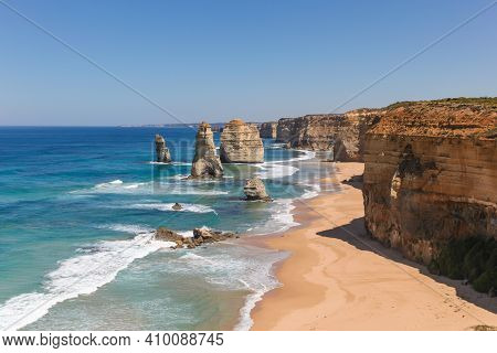 The Twelve Apostle's On The Great Ocean Road Is A Famous Australian Landmark In The Southern Coast O