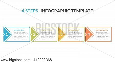 Infographic Template With Four Elements With Arrows And Place For Your Text, Workflow, Process Chart