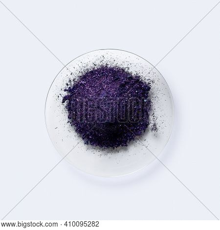 Potassium Permanganate On Chemical Watch Glass. Kmno4, A Common Chemical Compound That Combines Mang