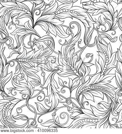 Seamless Pattern, Background In Baroque, Rococo, Victorian, Renaissance Style. Trendy Florar Vintage