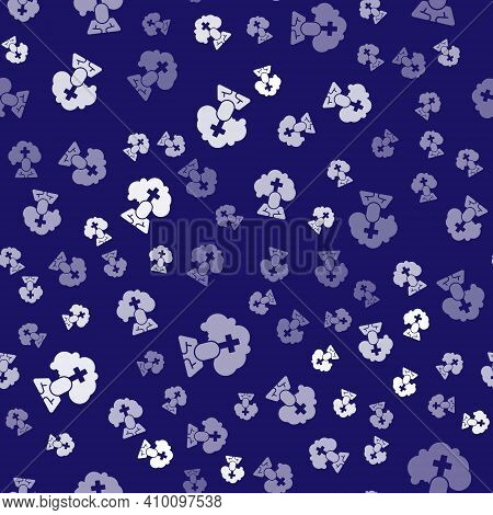 White Man Graves Funeral Sorrow Icon Isolated Seamless Pattern On Blue Background. The Emotion Of Gr
