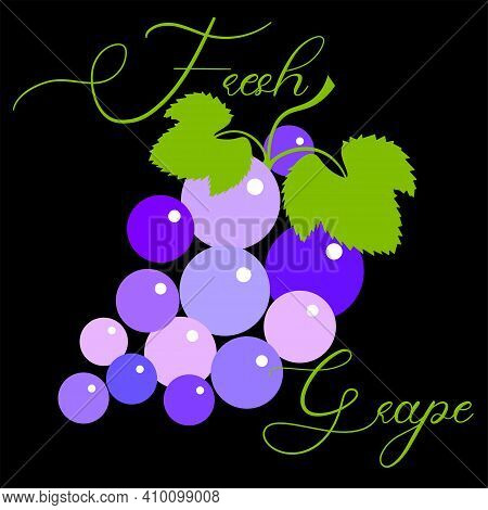 Fresh Grapes Logo Made From Lettering And Grape Brush