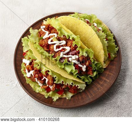 Mexican Food. Tacos With Beef On Plate. National Cusine