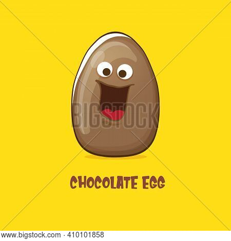 Cartoon Chocolate Easter Egg Cartoon Characters Isolated On Yellow Background. My Name Is Egg Vector