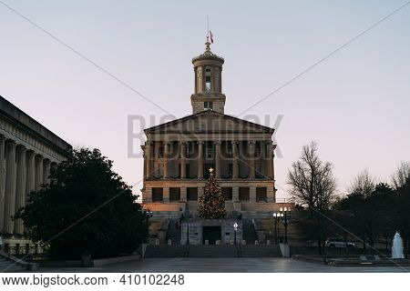 Tennessee State Capitol Building And Mall During Christmas, In The Evening Light.
