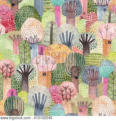 Cute watercolor background. Childish forest seamless pattern. Perfect for fabric, textile, wallpaper, kindergarten.