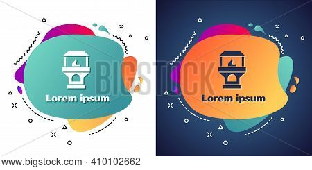 Logotype Brick Stove Icon Isolated On White Background. Brick Fireplace, Masonry Stove, Stone Oven I