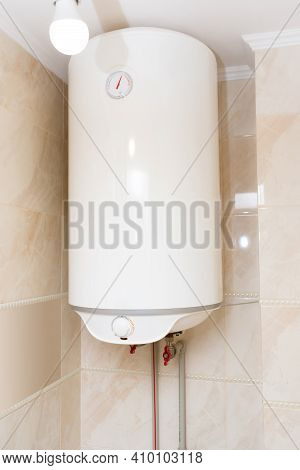 White Water Heater Water Heater In The Bathroom