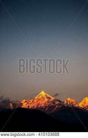 Panchachuli Peaks Of Himalayas From Munsyari, Uttarakhand India