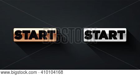 Gold And Silver Ribbon In Finishing Line Icon Isolated On Black Background. Symbol Of Finish Line. S