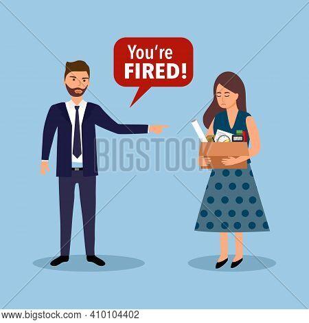 Businesswoman Leaving Job Vector Illustration. Fired Office Worker In Flat Design. Employee Firing C