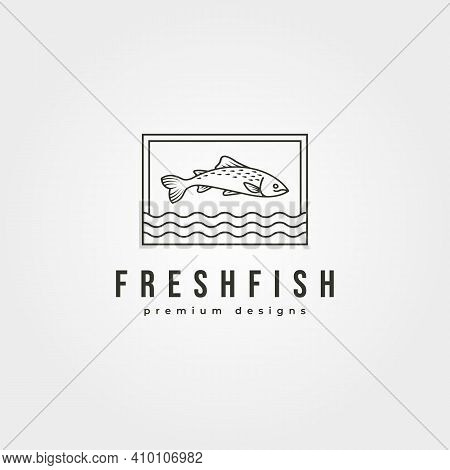Fish Line Icon Logo Vector Design, Fish Jump And Water Symbol Illustration Design