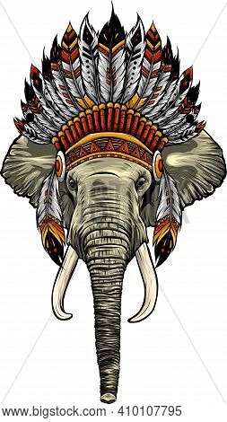 Elephant Head With American Indian Chief Headdress.