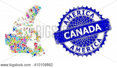 Canada V2 Map Vector Image. Splash Mosaic And Unclean Seal For Canada V2 Map. Sharp Rosette Blue Sta