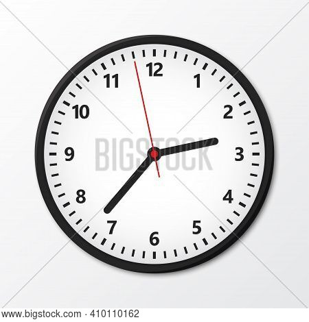 Black Wall Circular Clock With Shadow. Vector Illustration